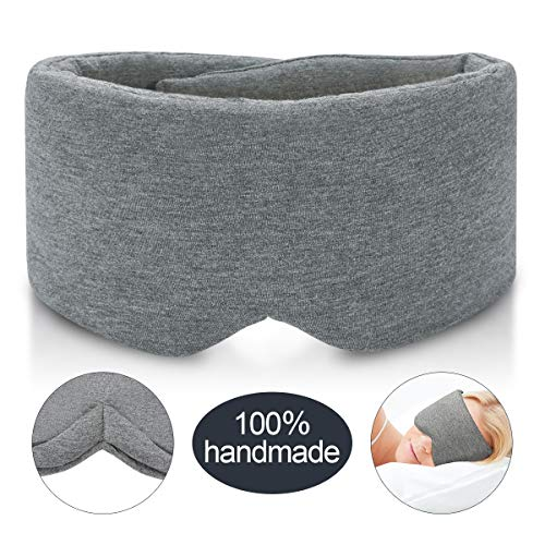 Handmade Cotton Sleep Mask - New Design Light Blocking Sleeping Eye Mask Soft and Comfortable Eye Shape Blinder Blindfold Airplane with Pouch for Nap Sleeping Travel for Women Men Kids(Gray Modal)
