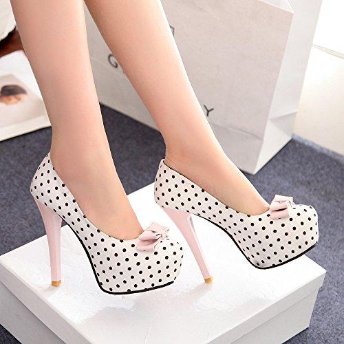 OCHENTA Artificial de la manera de la PU de fondo pesado zapatos de gran talla Blanco