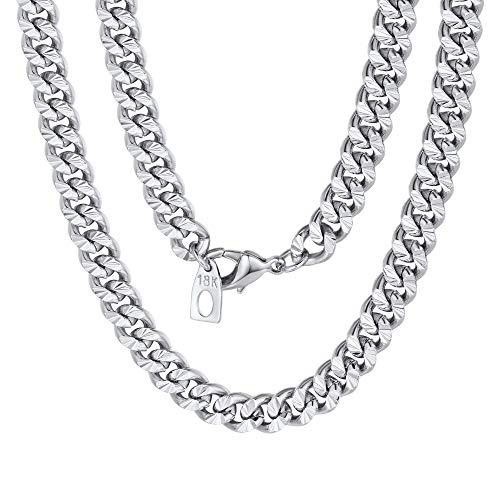 (Mens Chain Boys Hammered Cut Curb Cuban Link Necklace Silver Color)