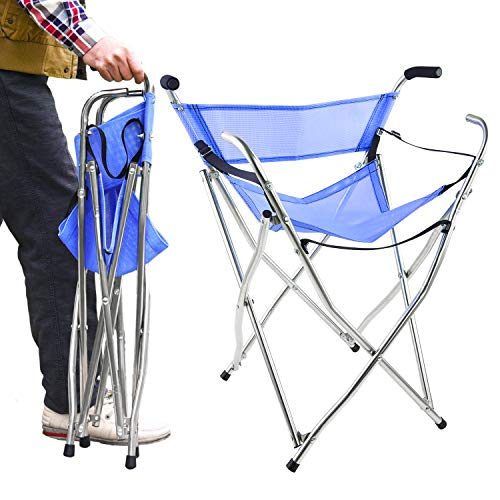 Frehsore® Walking Stick Folding Cane Seat for Women/Men with Heavy Duty - Walker Chair Bench Camping Travel Stool 2 Handle with 4 Legs (for Standard Figure)