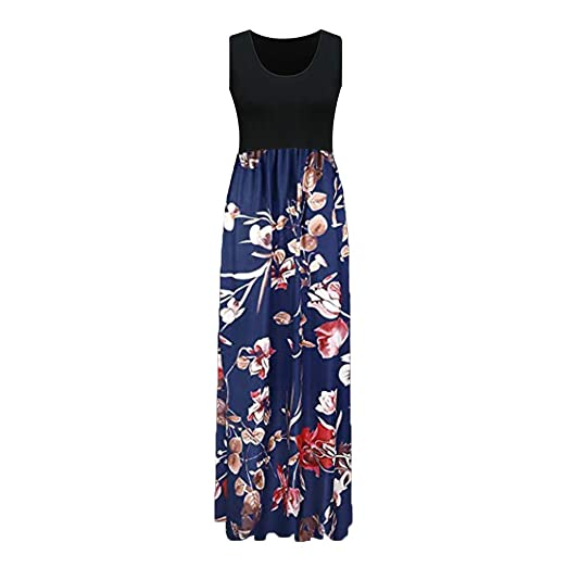 59d7c4b8c8e Summer Dresses for Women Sleeveless O-Neck Print Maxi Dress Tank Long Dress  (Blue
