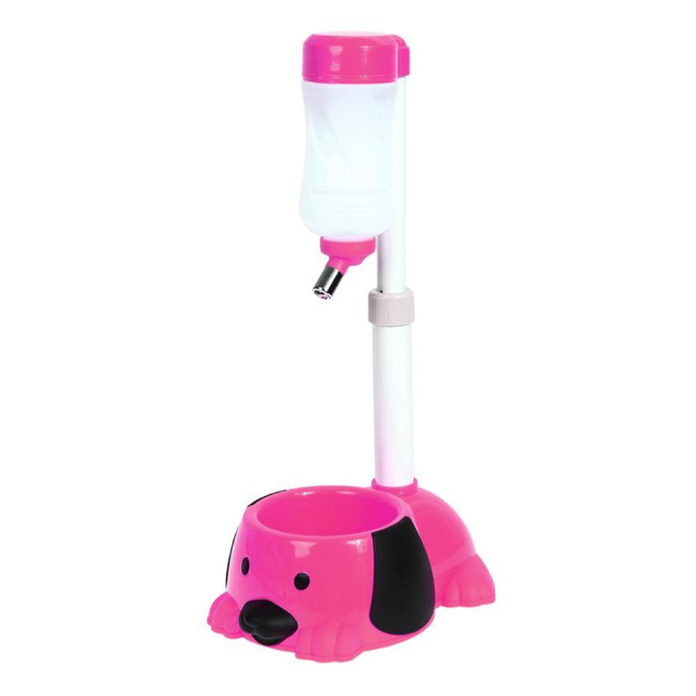 Pet Automatic Water Drinker Dispenser Food Stand Hamster Feeder Dish Bowl Bottle Dogs Puppy Cats (Pink)