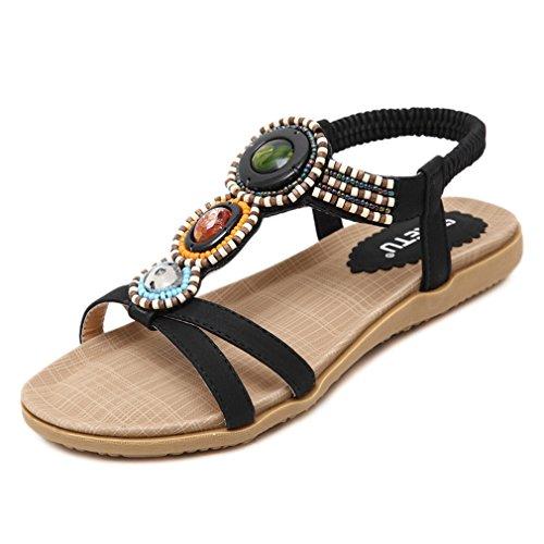 AVENBER Women Girl Strappy Flat Sandals Rhinestone Bohemian Beads Wide Ankle Strap Open Toe Dressy Shoes