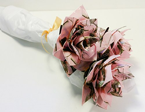 Pink Camo Duct Tape Flower Bouquet