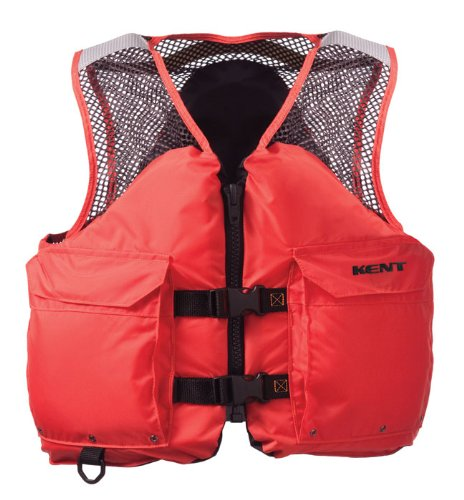 Deluxe Mesh Vest - Kent Mesh Deluxe Commercial Life Vest - Persons over 90-Pounds. (Orange, Large, 40-44-Inch Chest)