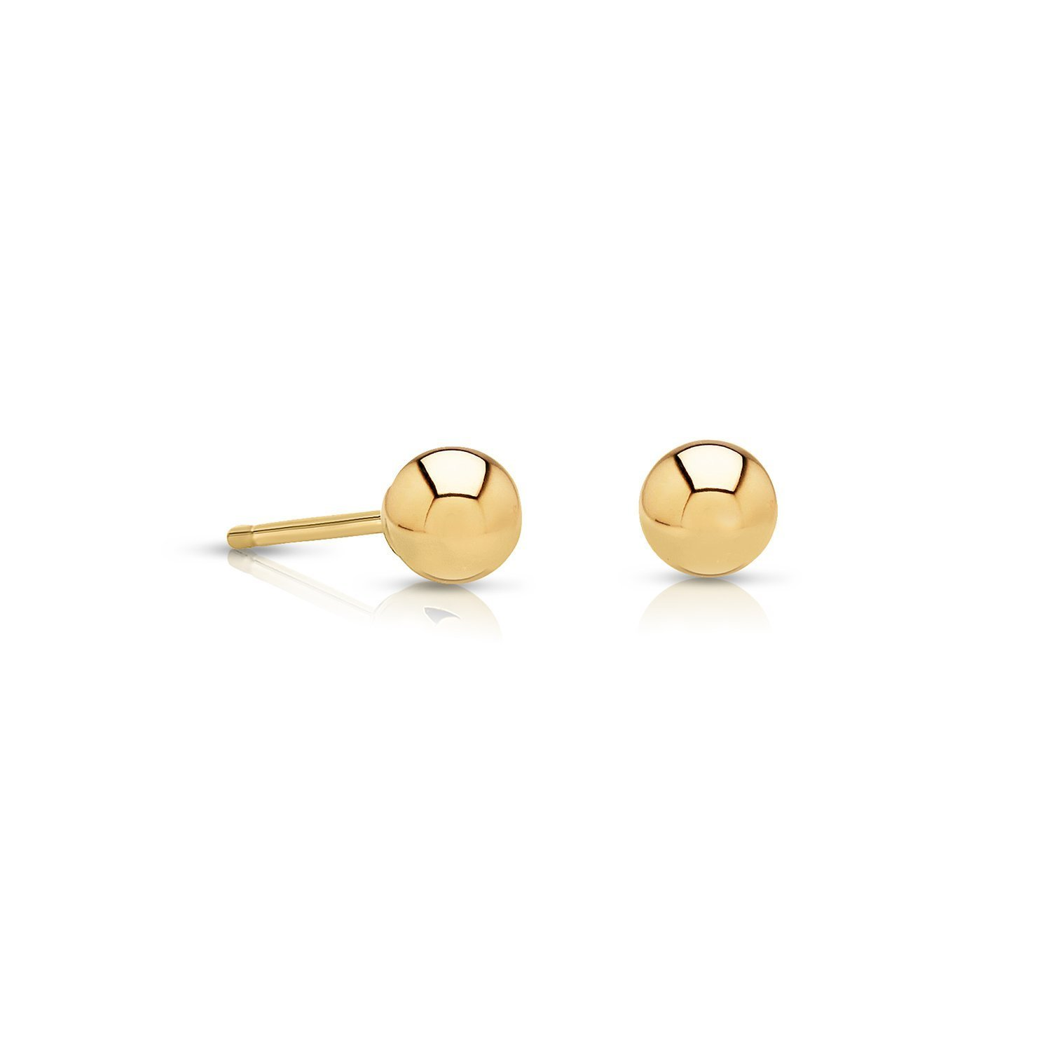 14k Gold Small Ball Stud Earrings with Secure and Comfortable Friction Backs, 3mm Diameter (yellow-gold)