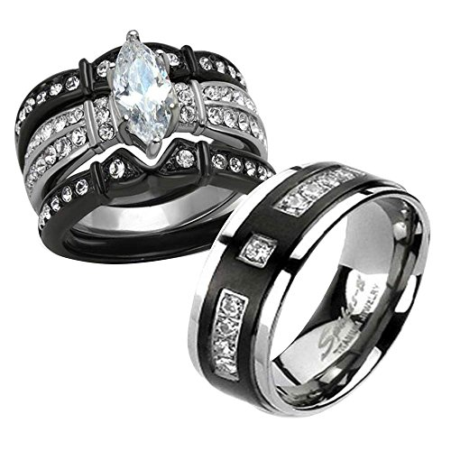 FlameReflection Women Bridal Black Titanium Stainless Steel CZ His and Hers Wedding Ring Sets SPJ bx