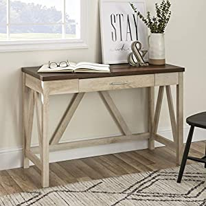 Walker Edison Furniture Rustic Farmhouse Wood Computer Writing Desk Office, 46 Inch - White, Brown