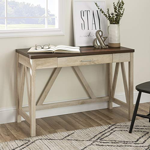 WE Furniture Rustic Farmhouse Wood Computer Writing Desk Office, 46 Inch, White, Brown (Small Desk Rustic)