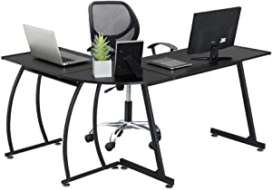 Yaheetech 58 x 44 inches L-Shape Corner Computer Desk, Wood Writing Studying Table with Round Corner, Large PC Laptop Workstation, 3-Piece Modern Desk, Black Home Office Furniture