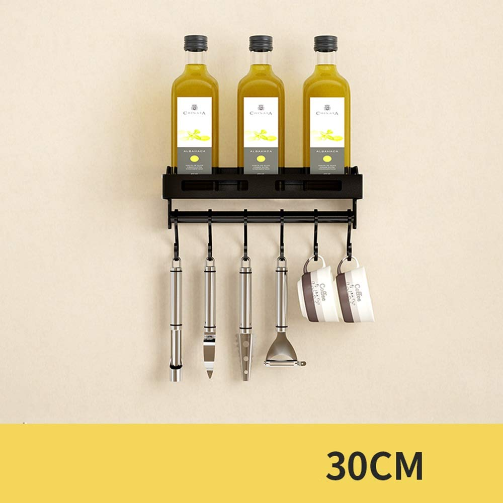 HUO Kitchen Rack Wall-Mounted Seasoning Storage Rack Black Wall Space Saving Rod Multifunction (Color : A, Size : 30cm)
