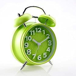 HENSE 4 Inch Smart Nightlight Alarm clock Silent Non-ticking Quartz Analog Retro Vintage Twin Bell Bedside Desk Tabletop Alarm Clock with Loud Alarm for Heavy Sleeper KF035(Green)