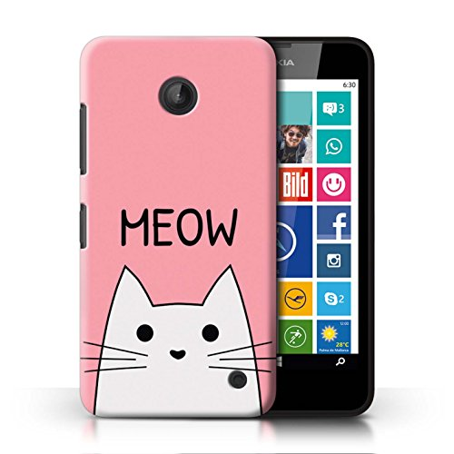 STUFF4 Phone Case / Cover for Nokia Lumia 635 / Meow / Pink Design / Cute Cartoon Cat - For Nokia 635 Phone Cases Girls