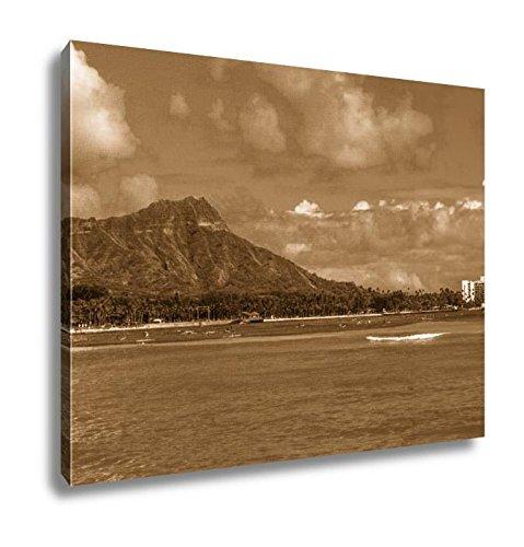 Ashley Canvas Diamond Head In Oahu Hawaii, Kitchen Bedroom Living Room Art, Sepia 24x30, AG6409543 by Ashley Canvas