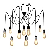 XHJJDJ Vintage Spider Pendant Lighting 10-Heads Edison Chandelier Vintage Multiple Adjustable DIY Ceiling Light Kit