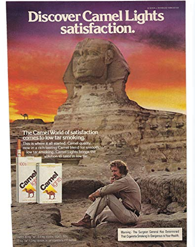 1980 Vintage Print Ad for Camel Lights Cigarettes | Discover Satisfaction Sphinx