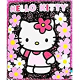 "Blanket - Hello Kitty - Black Sunflwers New 50x60"" Fleece Throw 70331"