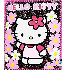 (Blanket - Hello Kitty - Black Sunflwers New 50x60 Fleece Throw 70331 by Hello)