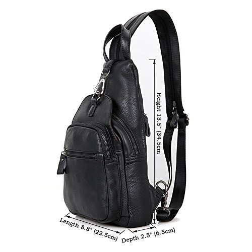 Travel Bag Messenger Black Ybriefbag Backpack Daypack Outdoor Genuine for Men's for Sling Hiking Casual Crossbody Bags Leather Backpack Sports Business Shoulder Chest Women Crossbody Men Sport Sling RURwF