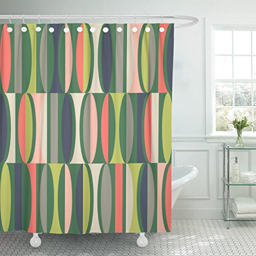 TOMPOP Shower Curtain Blue 1950S Mid Century Modern Pattern Colorful Abstract Geometric Waterproof Polyester Fabric 60 x 72 Inches Set with Hooks