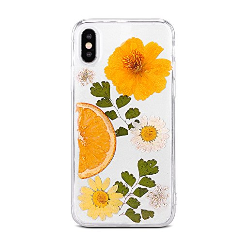 iPhone-X-Case-TIPFLY-Slim-Fit-Soft-TPU-Cover-with-Fruit-DesignReal-Flower-Pressed-Flexible-Shock-Absorption-Shell-for-Apple-iPhone-X