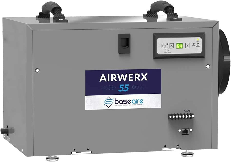 BaseAire AirWerx55 Crawl Space Dehumidifier, Basement Dehumidifier Removes 55 Pints at AHAM, Covers 1,300 sq.ft. Fitted 5 Years Warranty, HGV Defrosting, Remote Controlled