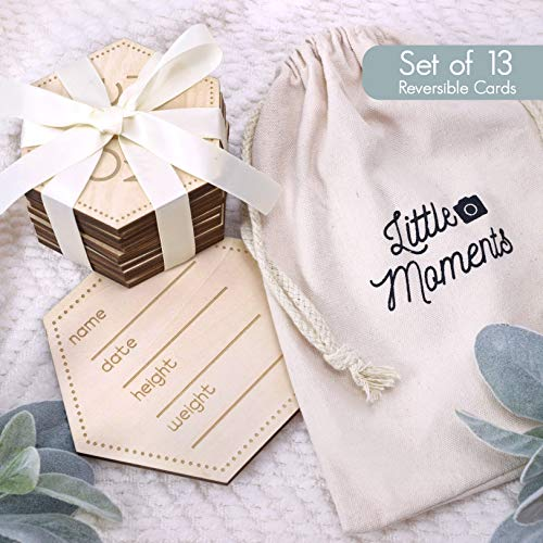 Baby Monthly Milestone Cards | SET OF 13 | Hexagon Wooden Baby Milestone Cards | 12 Reversible Milestones + 1 Customizable Birth Card In Drawstring Keepsake Bag | Unisex Milestone Stickers Blocks Disc from Little Moments