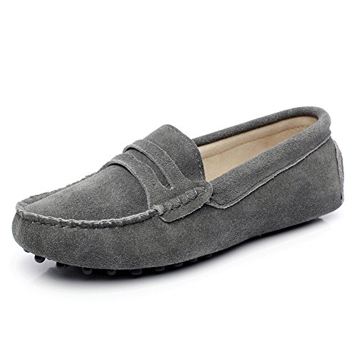 Generic Womens Flat Heel Comfort Suede Leather Loafers Shoes Grey