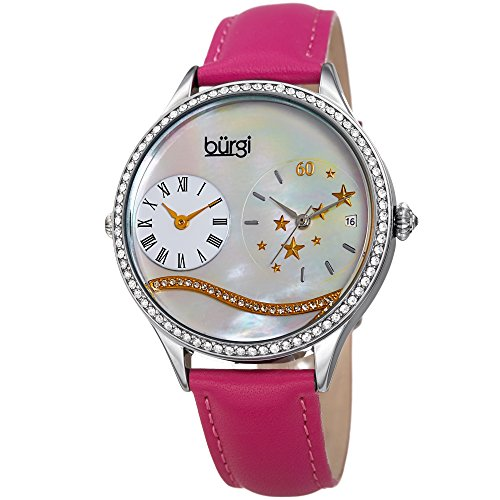 Burgi Swarovski Crystal Encrusted Women's Watch with Pink Skinny Leather Strap - Dual Time - Mother of Pearl Dial with Wave Setting Crystals - Japanese Quartz Analog - BUR184PK