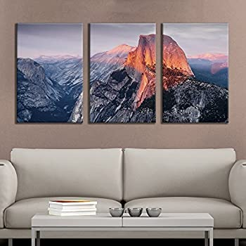 wall26 - 3 Panel Canvas Wall Art - Majestic Natural Landscape Triptych Canvas Series - Yosemite at Sunrise - Giclee Print Gallery Wrap Modern Home Decor Ready to Hang - 24