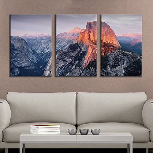 wall26 - 3 Panel Canvas Wall Art - Majestic Natural Landscape Triptych Canvas Series - Yosemite at Sunrise - Giclee Print Gallery Wrap Modern Home Decor Ready to Hang - 16
