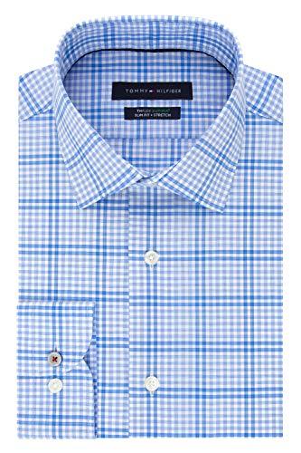 (Tommy Hilfiger Men's Dress Shirt Slim Fit Stretch Check, Blue Multi, 16.5