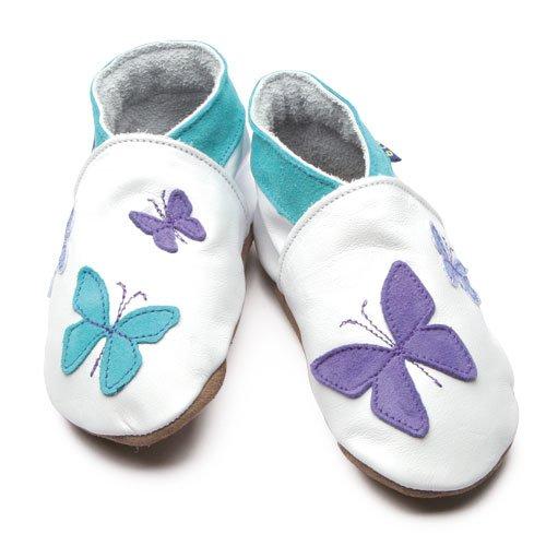 Inch Blue - 1459 XL - Chaussures Bébé Souples - Kaléidoscope - Blanc / Turquoise / Lilas - T 22-23 cm - 18-24 mois