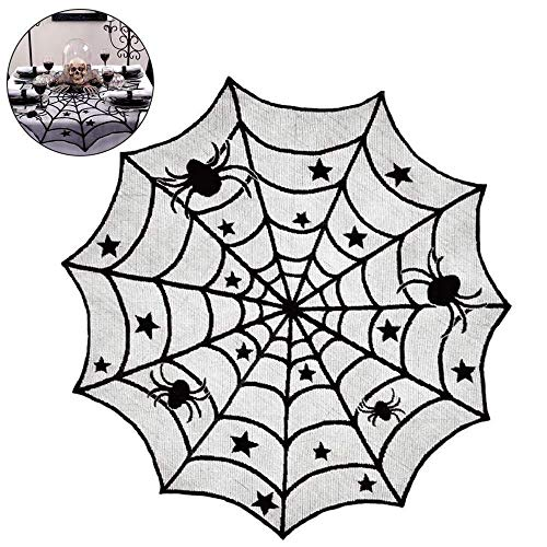 Hecentur Halloween Spider Web Black Lace Table Topper 40 Round Polyester Lace Table Topper, Black Spider Web - Perfect for Halloween, Dinner Parties and Scary Movie Nights