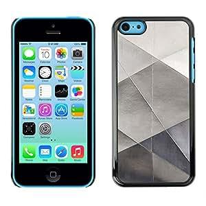 X-ray Impreso colorido protector duro espalda Funda piel de Shell para Apple iPhone 5C - Metal Sheet Paper Silver Polygon Pattern