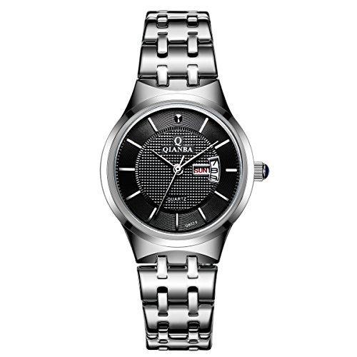 qianba q8029wbk 2016 Top mujer Relojes de marca de lujo pantalla Fecha y día de cuarzo impermeable muñeca relojes acero inoxidable Casual Relojes de moda: ...