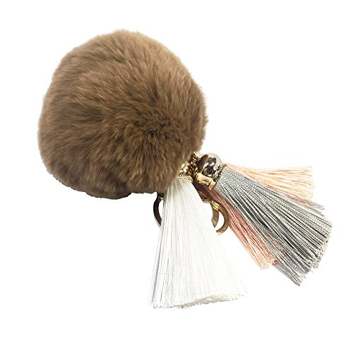 Decoration Handbag - Soft Rabbit Fur Pom Pom Keychain with Rainbow Tassel Keychains for Women Quality Pop Keychain Car Ring Handbag Decoration