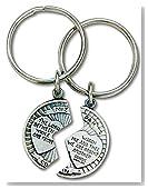 Mizpah Coin Split Keychain Set Pewter with Verse Genesis 31:49