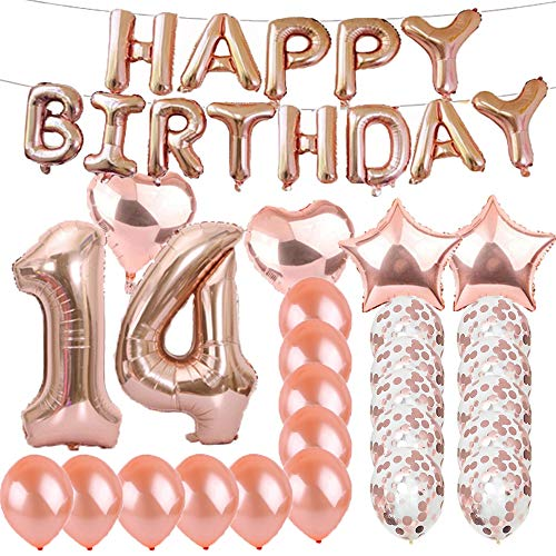 Sweet 14th Birthday Decorations Party Supplies,Rose Gold Number 14 Balloons,14th Foil Mylar Balloons Latex Balloon Decoration,Great 14th Birthday Gifts for Girls,Women,Men,Photo Props]()