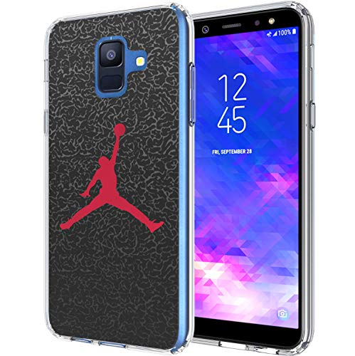Slam Dunk Mj - Galaxy A6 2018 Case, Ailiber Sport Shot Ball Slam Dunk MJ AJ NBA Black Slim Soft Fullbody Shockproof TPU Bumper Hard PC Cushion Protective Cover for Samsung Galaxy A6 2018 - Basketball