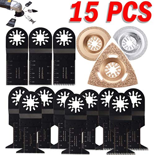 Yongse 15pcs Oscillating Multitool Saw Blades Set for Fein Multimaster Bosch Multitool