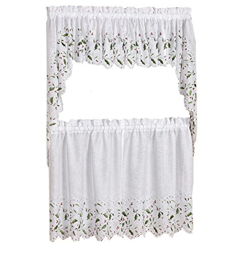 Lorraine Home Fashions Floral Holly and Berries Cutwork Embroidered Kitchen Curtain Tier and Swag Set, Complete Holiday Curtain Set - 36