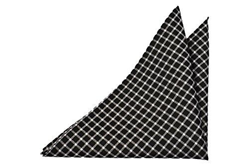 Notch Men's Pocket Square KONRAN - Black base with a white checked - Pocket Checked Square Pattern