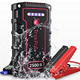 Car Jump Starter, TrekPow TJ2500 2500A Peak 18000mAh 12V Auto Battery Booster (Engines up to 9.0L Gas/8.0L Diesel) with UltraSafe Smart Clamps, IP68 Waterproof, QC3.0, Type-C Input, LED Flashlight
