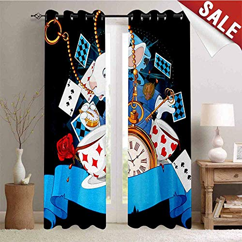 Alice in Wonderland Room Darkening Wide Curtains Rabbit Motion Cups Hearts and Flower Character Alice Cartoon Style Decor Curtains by W84 x L84 Inch Multicolor