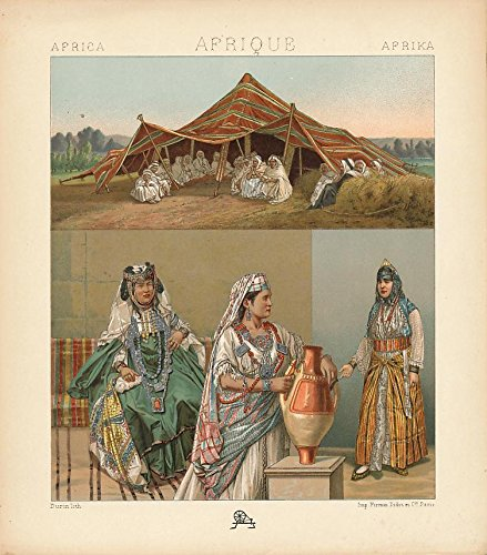 1880's Ladies Costume (African women's ceremonial costume lovely c. 1880's antique color Ethnic print)