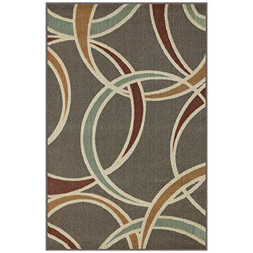 Maples Rugs Kitchen Rug - Circle 2'6 x 3'10 Non Skid Hallway Entry Rugs Kitchens [Made in USA] for Kitchen and Entryway, Grey ()