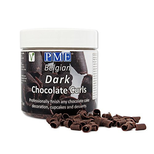 PME Belgian Dark Chocolate Curls for Decorating Cake Muffin Cupcake Desserts 85g (Ice Chocolate Cakes Cream)