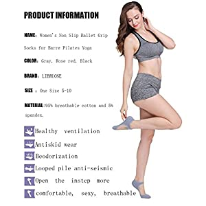 Yoga Barre Socks Non Slip Skid for Barre Pilates Ballet 3 Pairs Cotton Socks One Size 5-10