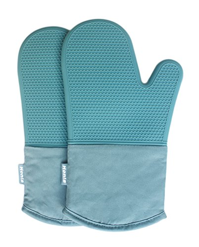 Honla Silicone Oven Mitts,Heat Resistant to 500 F,1 Pair of Non Slip Kitchen Oven Gloves for Cooking,Baking,Grilling,Barbecue Potholders,Teal -